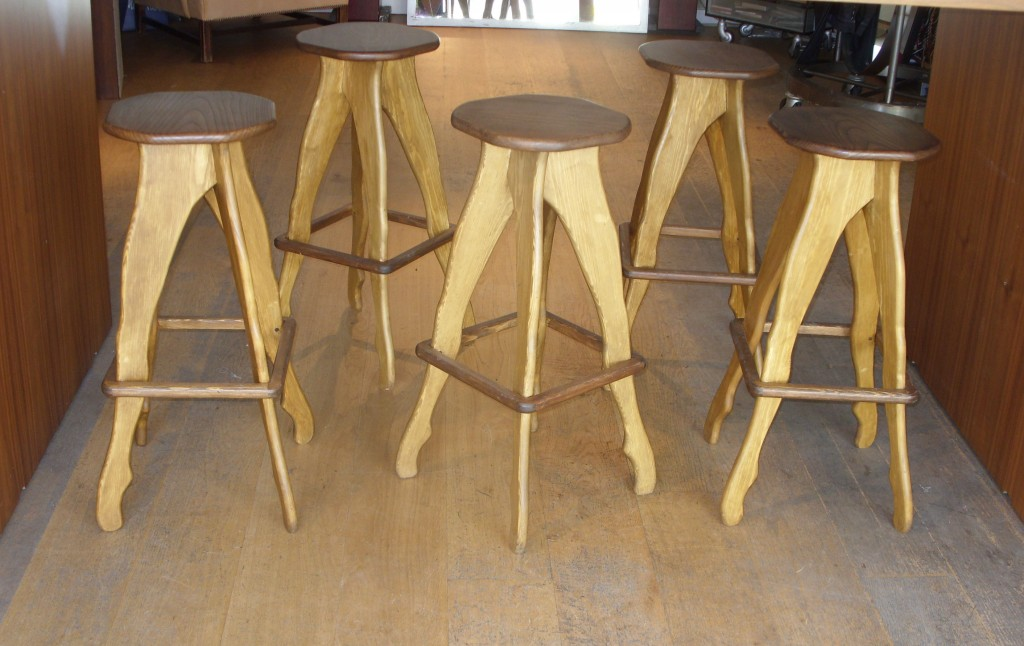 solid wood bar stools.