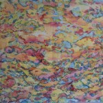 clouds of colour, painting on cloth